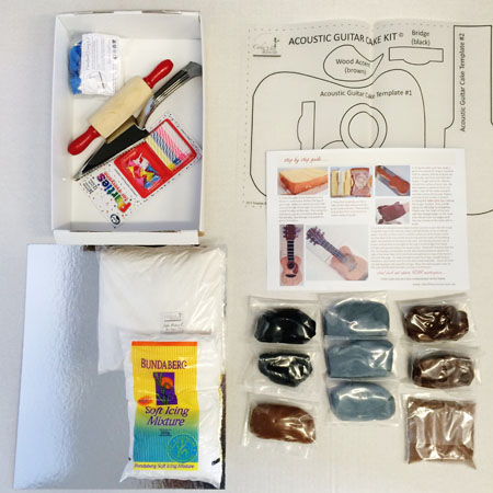 acoustic guitar cakes for dads on Father's Day DIY cake kit contents from Cake 2 The Rescue