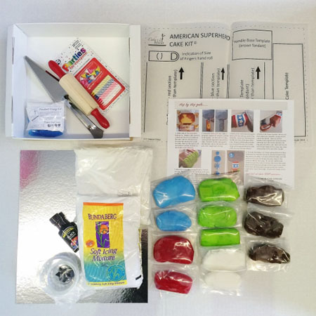 American Superhero birthday cake kit contents from Cake 2 The Rescue