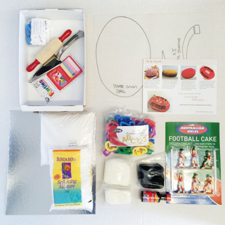 Aussie Rules football birthday cake kit contents from Cake 2 The Rescue
