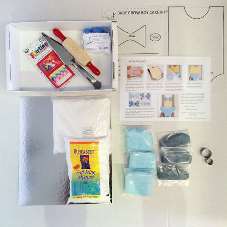 baby grow boy cake kit contents from Cake 2 The Rescue