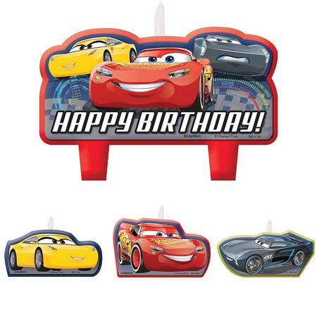 car candles and lightening mcqueen themed birthday party candles from Cake 2 The Rescue