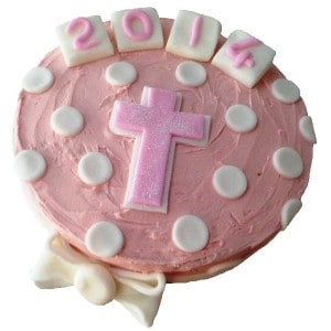 christening Butter Icing Cake Kit pink 600