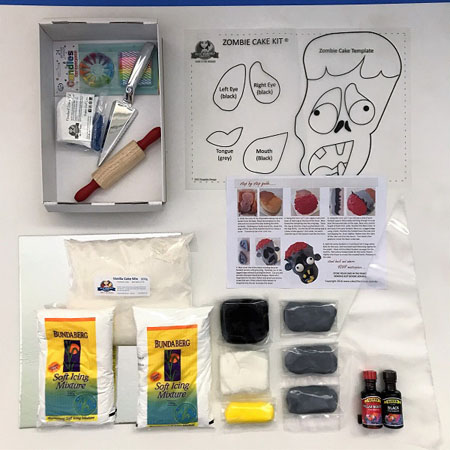 Creepy zombie cake kit contents from Cake 2 The Rescue