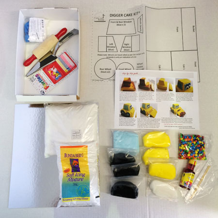 Digger birthday cake kit contents from Cake 2 The Rescue
