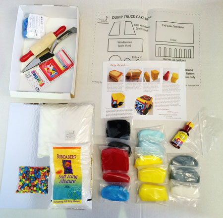 Dump truck birthday cake kit contents from Cake 2 The Rescue