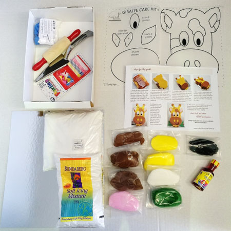 Easy giraffe cake kit contents from Cake 2 The Rescue