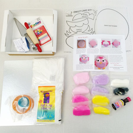 Easy owlet cake kit contents from Cake 2 The Rescue