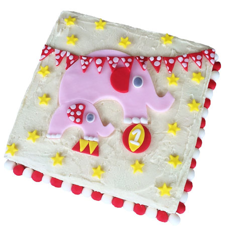 easy pink circus elephant baby shower birthday cake DIY kit from Cake 2 The Rescue