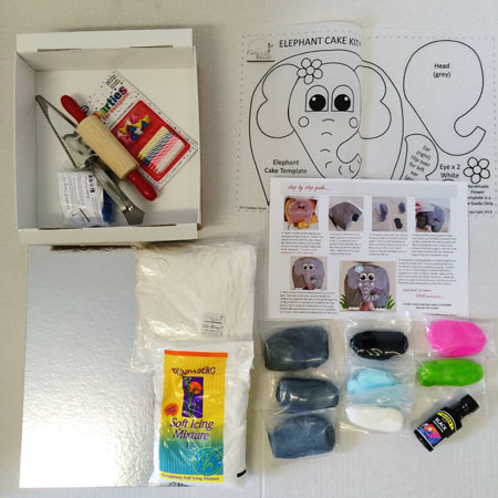 elephant DIY cake kit contents from Cake 2 The Rescue