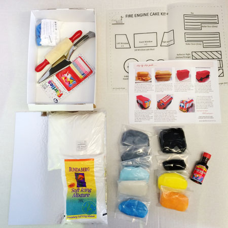 Fire engine birthday cake kit contents from Cake 2 The Rescue