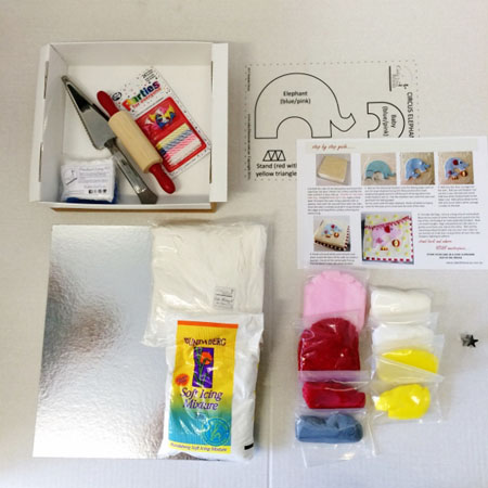 girls first birthday pink circus elephant cake kit contents from Cake 2 The Rescue