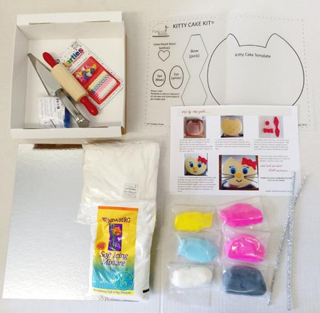 kitty cat birthday party theme DIY cake kit contents from Cake 2 The Rescue