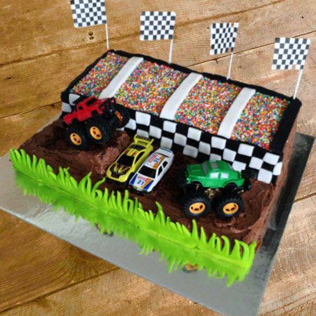 Pleasing Diy Monster Truck Stadium Cake Kit Teen Birthday Ideas Birthday Cards Printable Trancafe Filternl