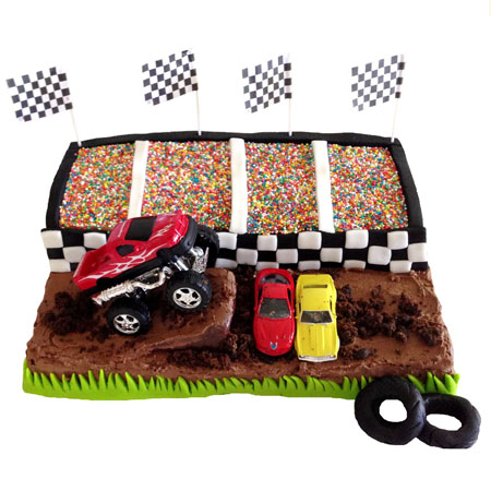 Monster truck stadium birthday cake DIY kit from Cake 2 The Rescue