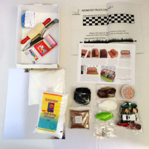 Monster truck stadium teen birthday cake kit contents from Cake 2 The Rescue