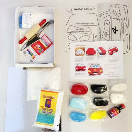 nascar and lightening mcqueen themed birthday parties DIY cake kit from Cake 2 The Rescue