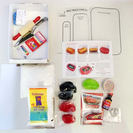 nastrack birthday boy and ligtening mcqueen themed birthday parties DIY cake kit ingredients from Cake 2 The Rescue