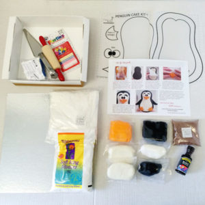 Penguin birthday cake kit contents from Cake 2 The Rescue