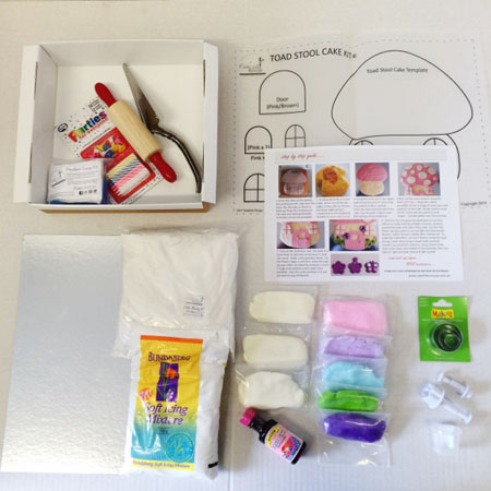 pink toadstool birthday cake kit contents from Cake 2 The Rescue