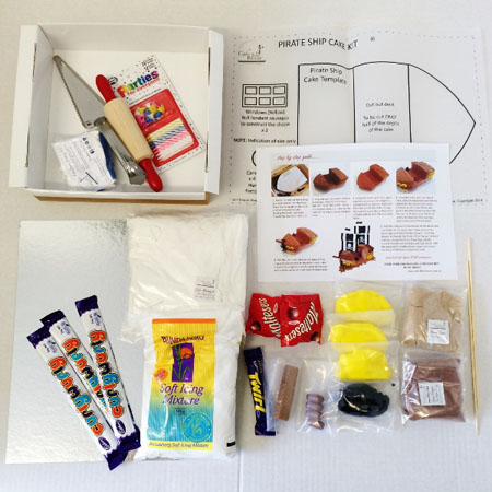 Pirate ship cake kit contents from Cake 2 The Rescue