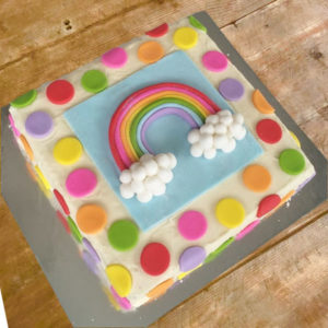 Rainbow cake christening cake kit from Cake 2 The Rescue