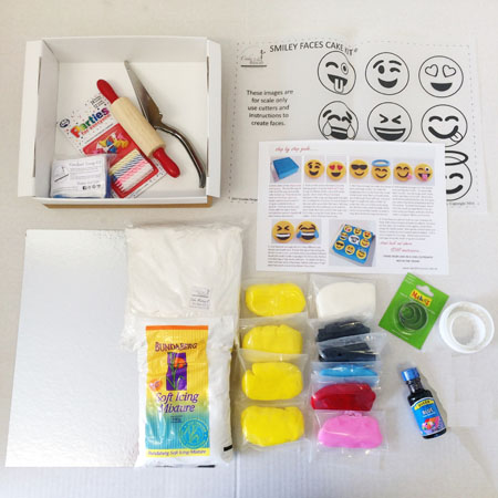 Smiley faces cake kit contents from Cake 2 The Rescue