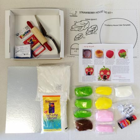 strawberry house enchanted garden themed birthday party DIY cake kit contents from Cake 2 The Rescue