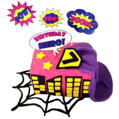 superhero pink birthday girl cake ideas DIY cake kit from Cake 2 The Rescue