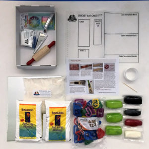 Contents of DIY cricket bat cake kit from Cake 2 The Rescue