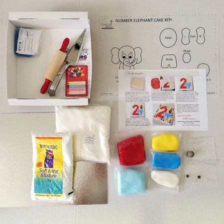 Elephant 1st birthday cake kit contents from Cake 2 The Rescue