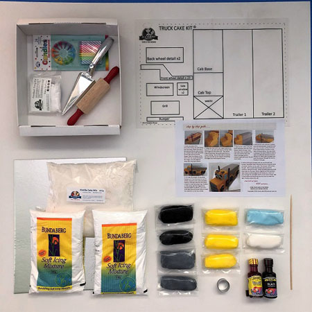Semi trailer truck birthday cake kit contents from Cake 2 The Rescue