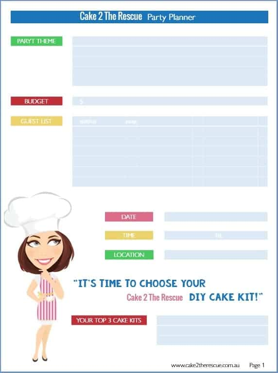 party planning schedule printable cake 2 the rescue