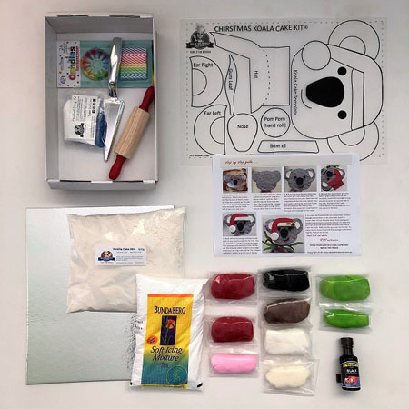 Christmas Koala cake kit contents from Cake 2 The Rescue