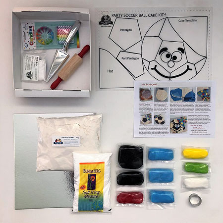 contents of party soccer ball diy cake kit from Cake 2 The Rescue