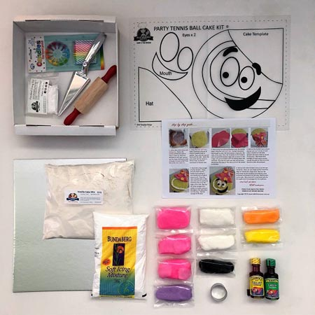 tennis ball sport themed birthday party DIY cake kit contents from Cake 2 The Rescue