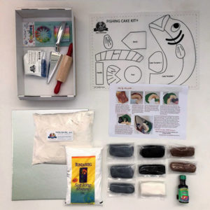 Fishing birthday cake kit contents from Cake 2 The Rescue