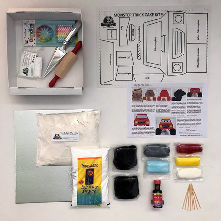Monster Truck kids birthday cake kit contents from Cake 2 The Rescue