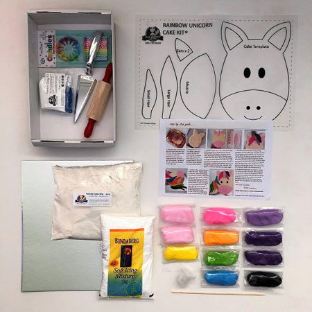 rainbow unicorn cake kit contents from Cake 2 The Rescue