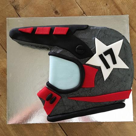 Dirt bike or BMX helmet teen birthday cake kit from Cake 2 The Rescue