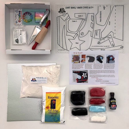 Dirt bike helmet teen birthday cake kit contents from Cake 2 The Rescue