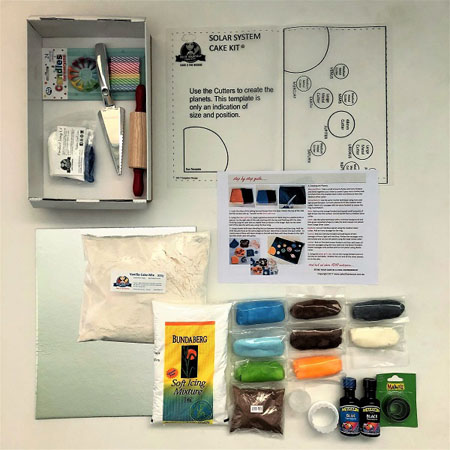 Solar system birthday cake kit contents from Cake 2 The Rescue