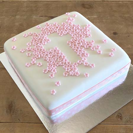 flower cross pink Christening cake for a girl DIY kit from Cake 2 The Rescue