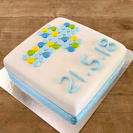 traditional cross fondant christening cake for a boy DIY kit from Cake 2 The Rescue