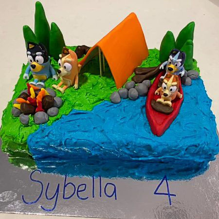 Bluey camping episode birthday party cake DIY kit from Cake 2 The Rescue