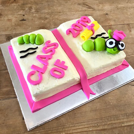 Bookworm last day school class party cake kit from Cake 2 The Rescue
