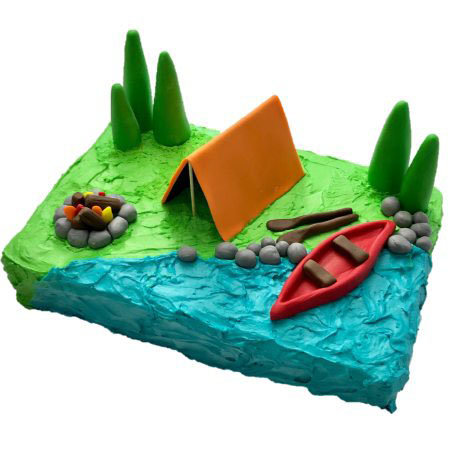 camping birthday bluey fans cake DIY kit from Cake 2 The Rescue