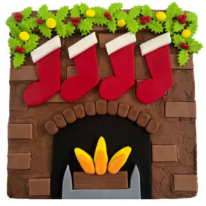 Christmas fireplace cake DIY kit from Cake 2 The Rescue