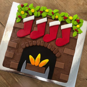 Festive Christmas Fireplace cake kit from Cake 2 The Rescue
