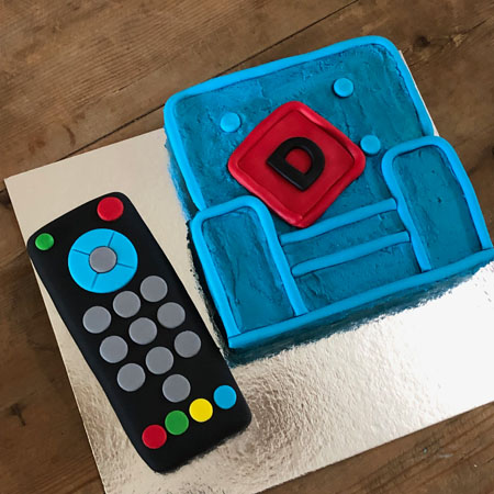 couch potato Netflix addict and Father's Day cake DIY kit from Cake 2 The Rescue