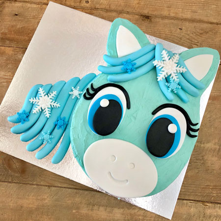 Snowflake pony Frozen themed birthday cake kit from Cake 2 The Rescue